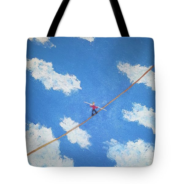 Tote Bag featuring the painting Walking The Line by Thomas Blood