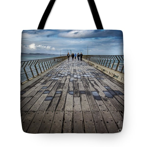 Tote Bag featuring the photograph Walking The Pier by Perry Webster