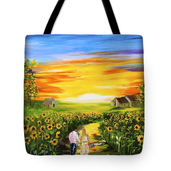 Walking Through The Sunflowers Tote Bag
