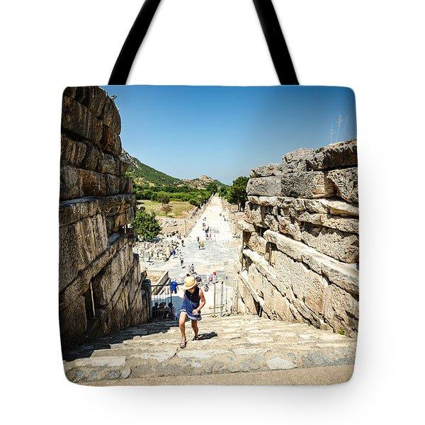Walking Up The Stairs In Ephesus Tote Bag