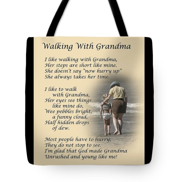 Walking With Grandma Tote Bag by Dale Kincaid