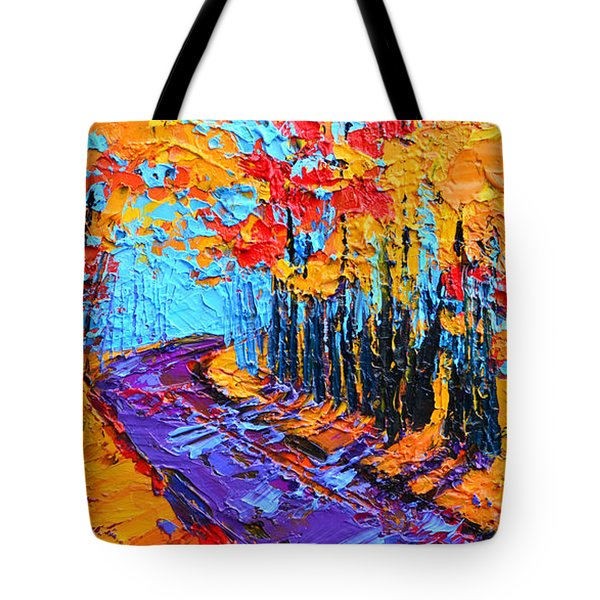 Walking Within - Enchanted Forest Collection - Modern Impressionist Landscape Art - Palette Knife Tote Bag