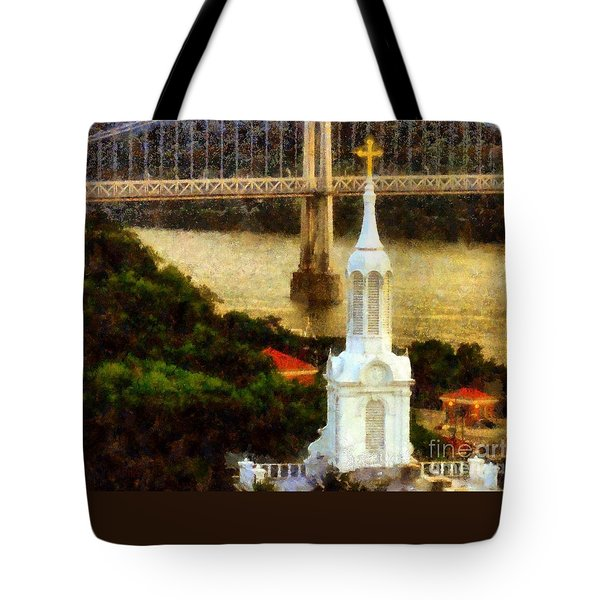 Walkway Over The Hudson - Our Lady Of Mount Carmel Church Steeple Tote Bag by Janine Riley