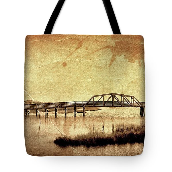 Walkway Over The Sound, Topsail Beach, North Carolina Tote Bag by John Pagliuca