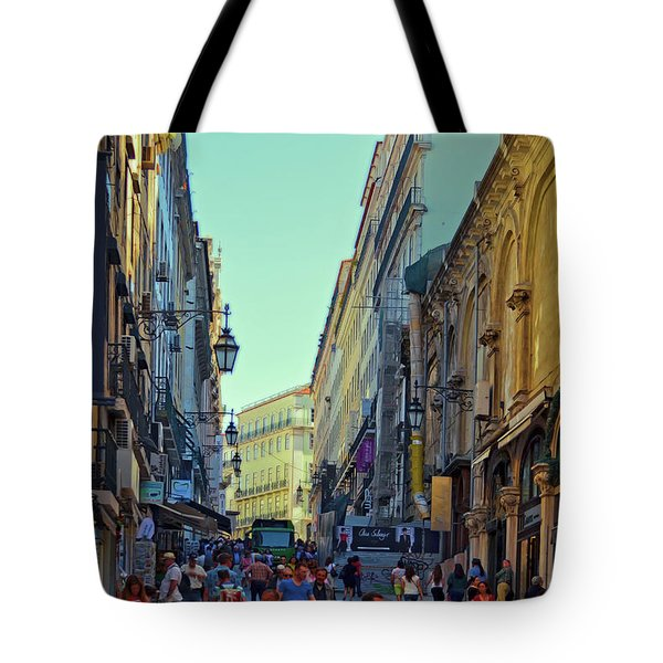 Tote Bag featuring the photograph Walkway Over The Street - Lisbon by Mary Machare