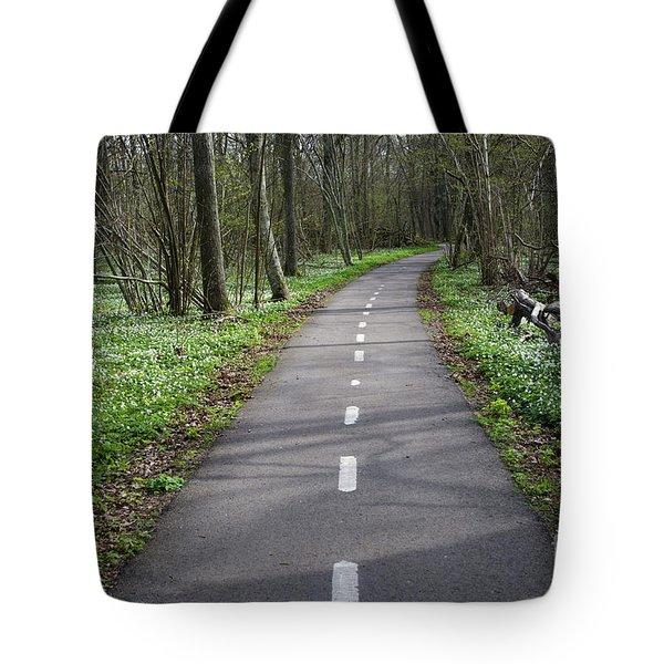 Tote Bag featuring the photograph Walkway Surrounded Of Spring Flowers by Kennerth and Birgitta Kullman