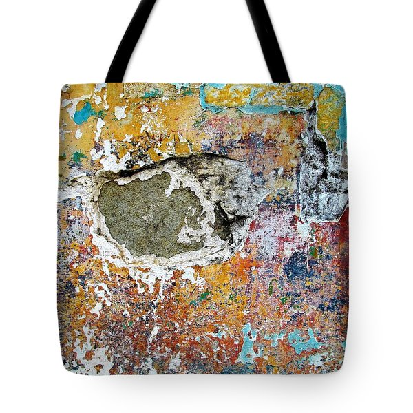 Tote Bag featuring the photograph Wall Abstract 196 by Maria Huntley