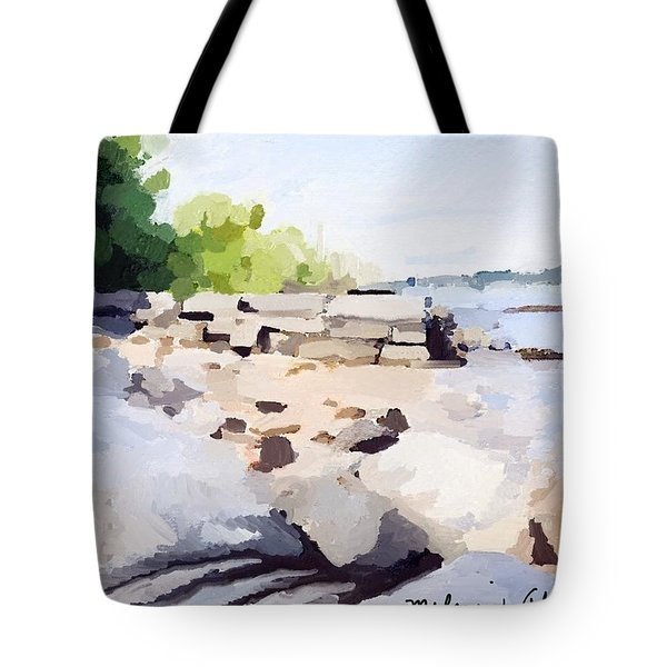 Wall And Beach At Ten Pound Island Tote Bag