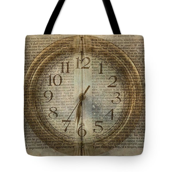 Tote Bag featuring the digital art Wall Clock And Book Double Exposure by Randy Steele