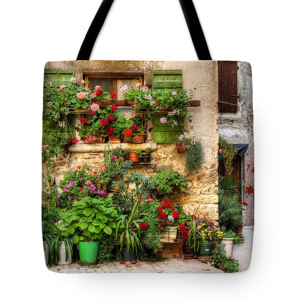 Wall Of Flowers Tote Bag by Uri Baruch