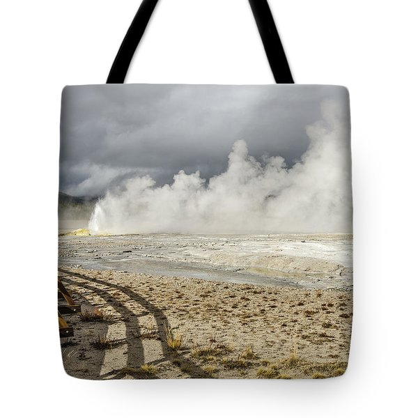 Tote Bag featuring the photograph Wall Of Steam by Sue Smith