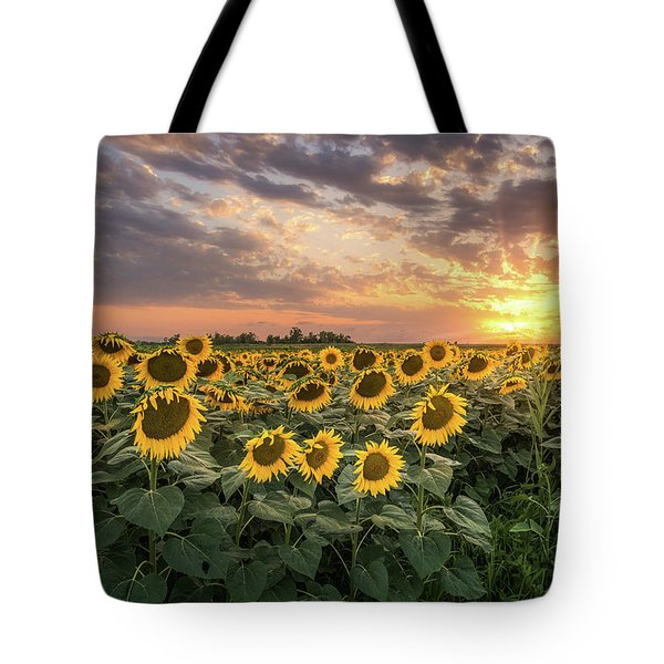 Wall Of Sunflowers Tote Bag