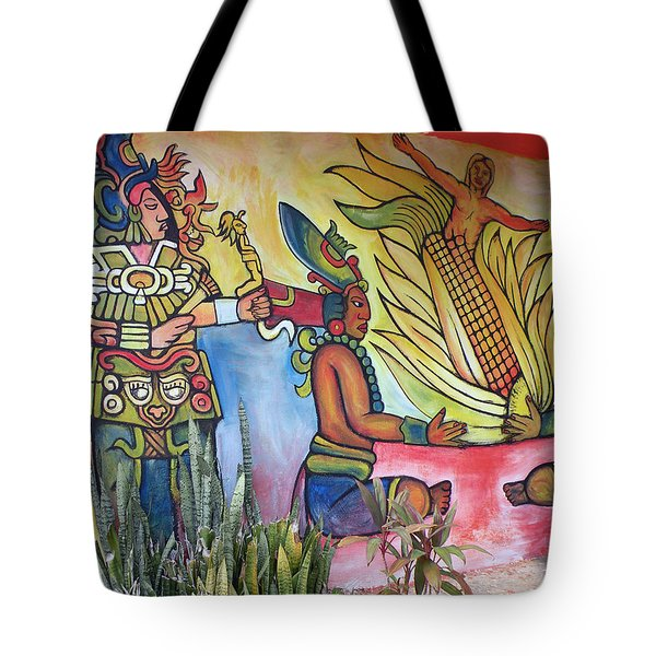 Wall Painting In A Mexican Village Tote Bag
