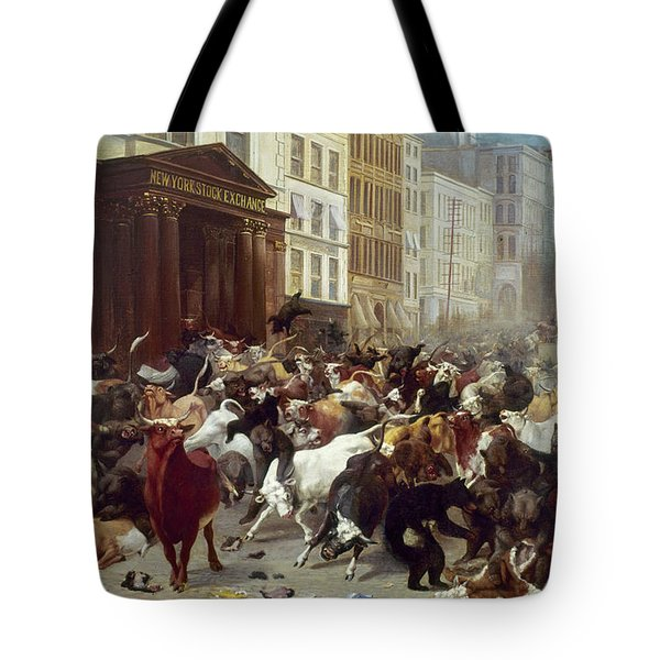 Tote Bag featuring the photograph Wall Street: Bears & Bulls by Granger
