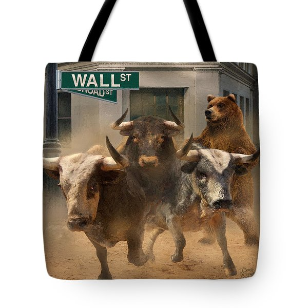 Wall Street -- Bull And Bear Markets Tote Bag by Doug Kreuger