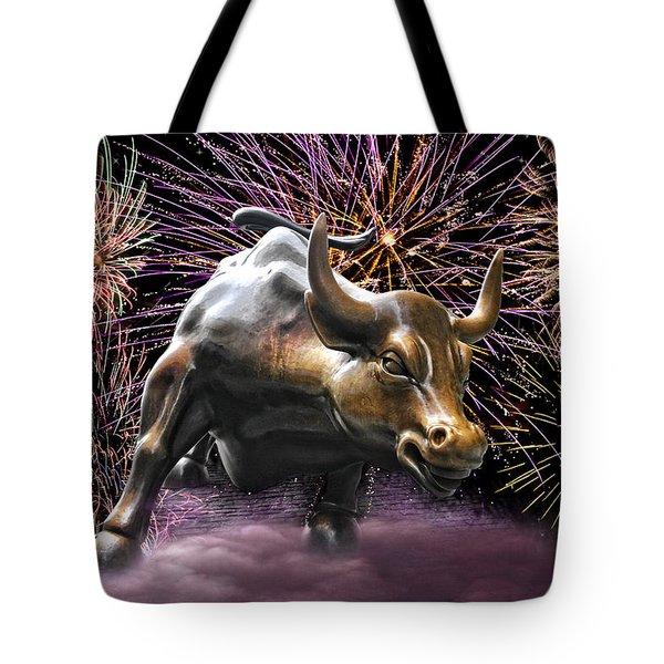 Wall Street Bull Fireworks Tote Bag
