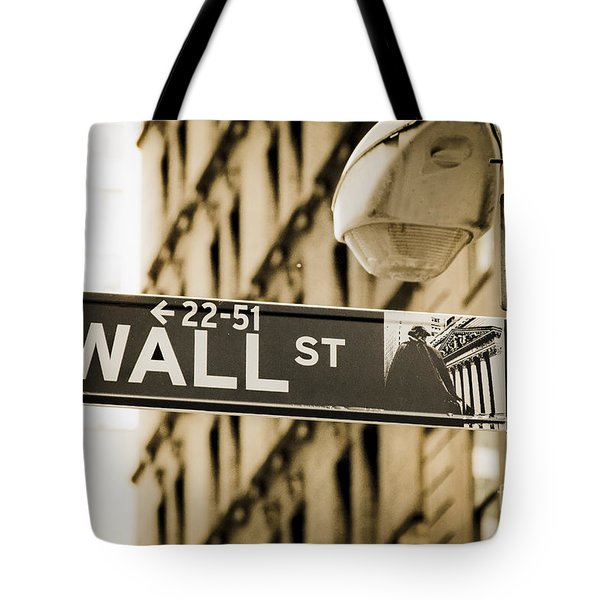 Tote Bag featuring the photograph Wall Street by Juergen Held