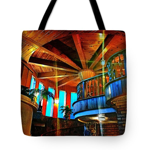 Tote Bag featuring the photograph Wallaceville House's Rustic Balcony by Kathy Kelly