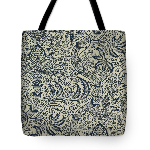 Wallpaper With Navy Blue Seaweed Style Design Tote Bag