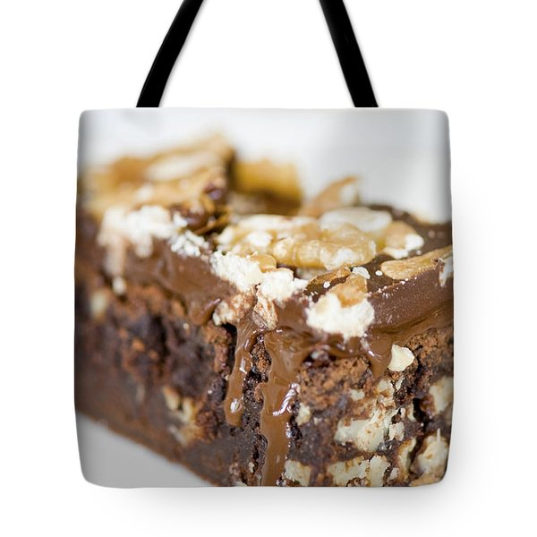 Walnut Brownie On A White Plate Tote Bag