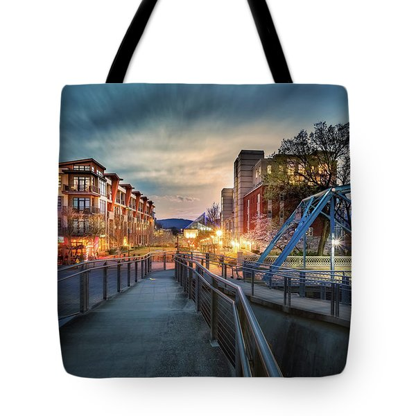 Walnut Street Circle Sunset Tote Bag