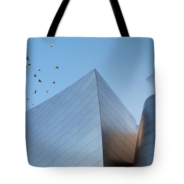 Tote Bag featuring the photograph Walt Disney Concert Hall Los Angeles California Architecture Abstract by Ram Vasudev