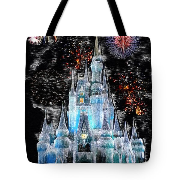 Walt Disney World Frosty Holiday Castle Mp Tote Bag by Thomas Woolworth