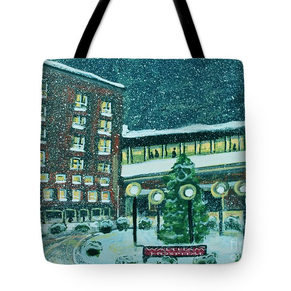 Waltham Hospital On Hope Ave Tote Bag by Rita Brown