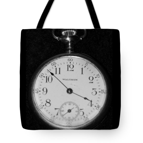 Waltham Pocketwatch In Black And White Tote Bag