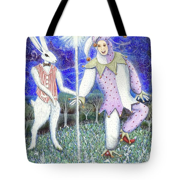 Tote Bag featuring the painting Wand With Magician And Jester by Lise Winne