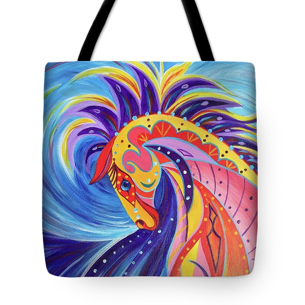 Tote Bag featuring the painting War Horse by Nancy Cupp