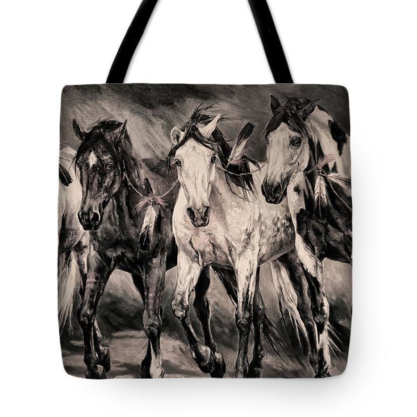 War Horses Tote Bag by Dennis Baswell