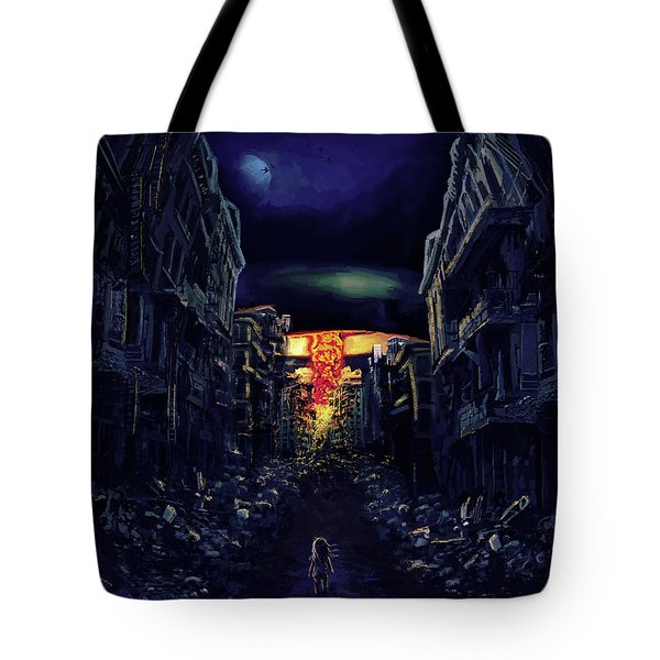 Tote Bag featuring the drawing War by Julia Art