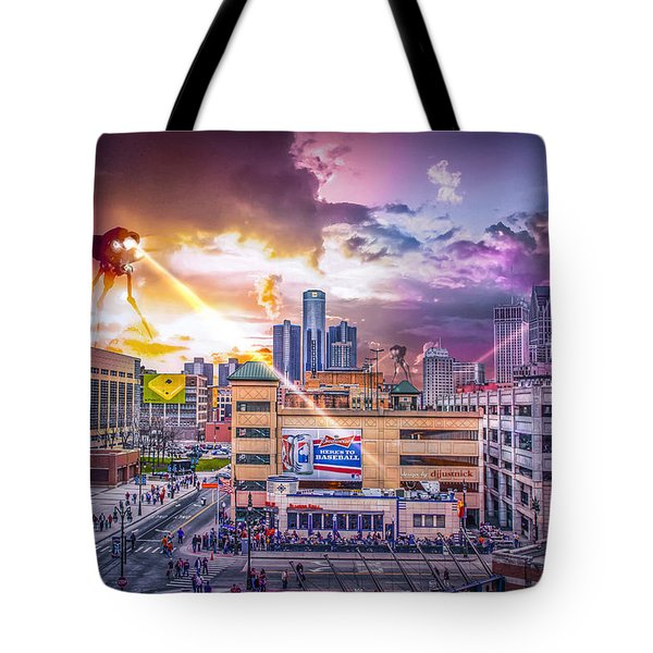Tote Bag featuring the photograph War Of The Worlds Detroit By Nicholas Grunas by Nicholas  Grunas