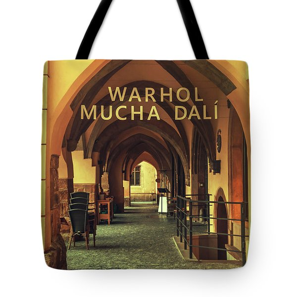 Tote Bag featuring the photograph Warhol Mucha Dali. Series Golden Prague by Jenny Rainbow