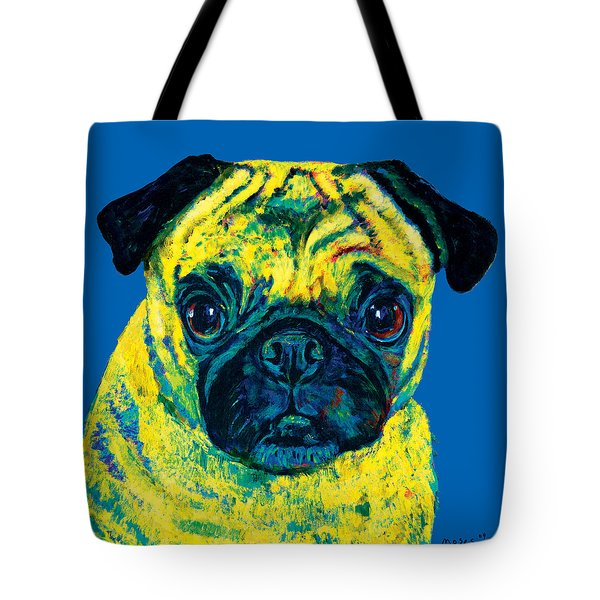 Warhol Pug Blue Tote Bag
