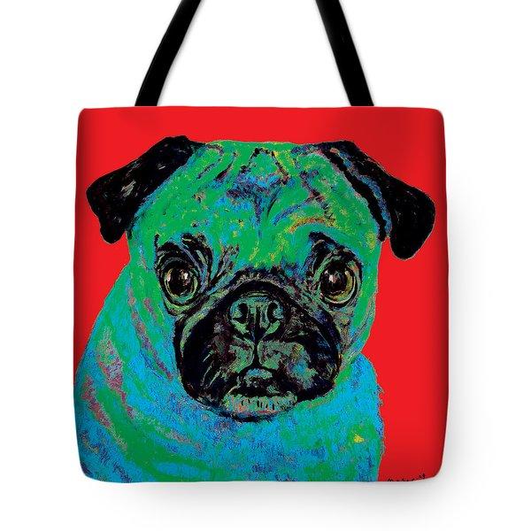 Warhol Pug Red Tote Bag