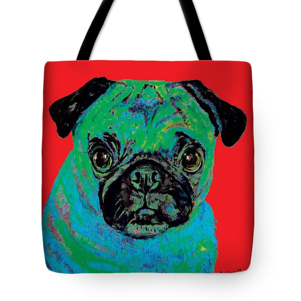 Warhol Pug Red Tote Bag