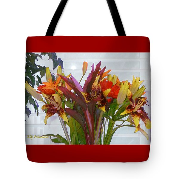 Warm Colored Flowers Tote Bag