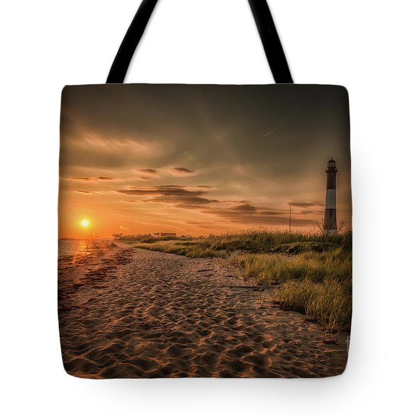 Warm Sunrise At The Fire Island Lighthouse Tote Bag