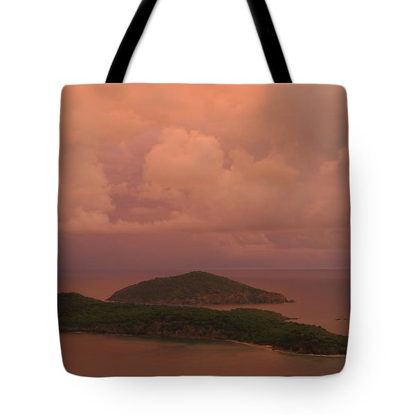 Warm Sunset Palette Of Inner And Outer Brass Islands From St. Thomas Tote Bag