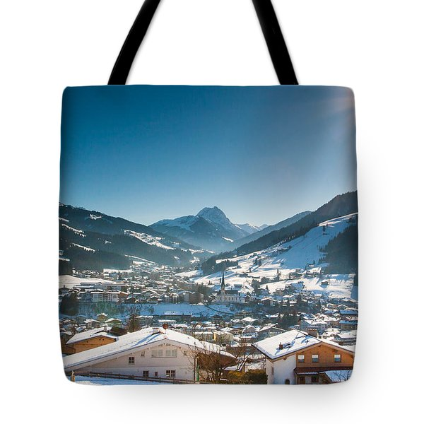 Warm Winter Day In Kirchberg Town Of Austria Tote Bag
