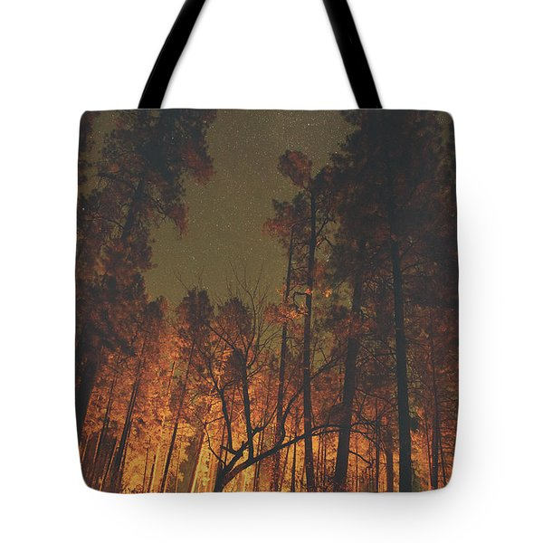 Warmth Of Trees And Stars Tote Bag