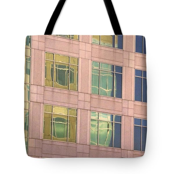 Tote Bag featuring the photograph Warped Window Reflectionss by Linda Phelps
