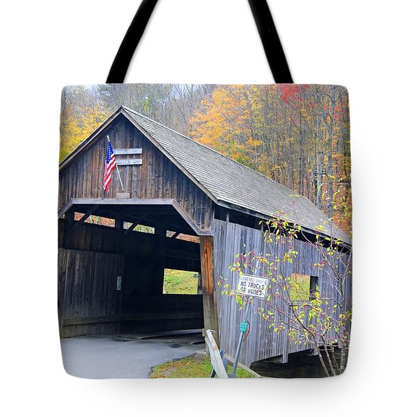 Tote Bag featuring the photograph Warren Covered Bridge In Vermont by David Birchall