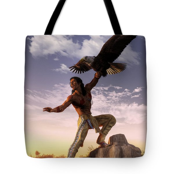 Warrior And Eagle Tote Bag