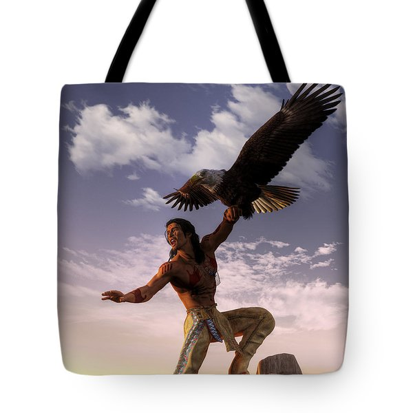Warrior And Eagle Tote Bag by Daniel Eskridge