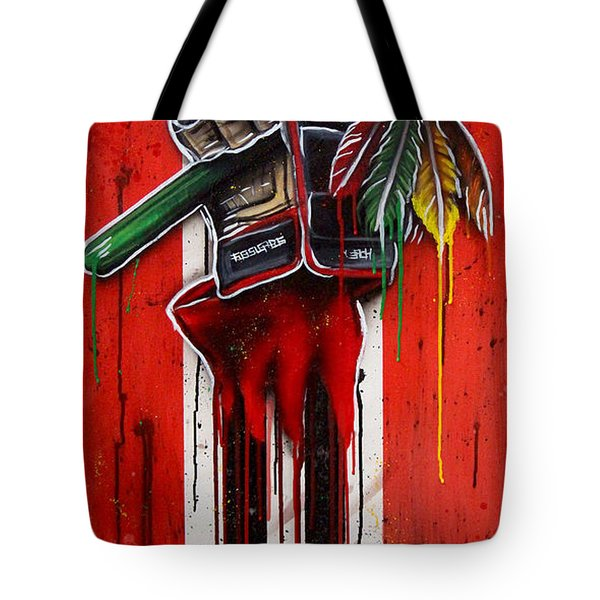 Warrior Glove On Red Tote Bag by Michael T Figueroa