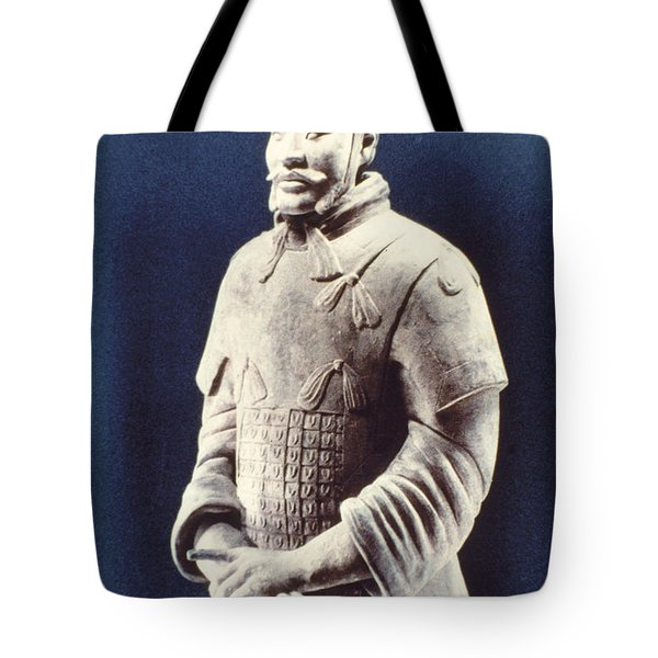 Tote Bag featuring the photograph Warrior Of The Terracotta Army by Heiko Koehrer-Wagner