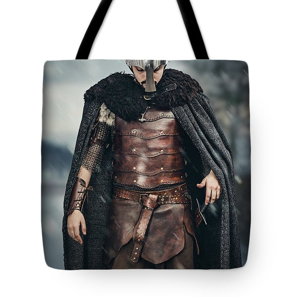 Warrior Wearing Helmet Tote Bag